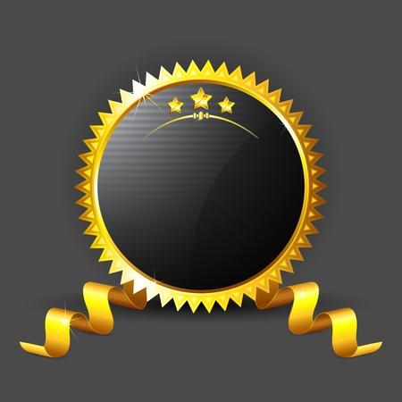 illustration of royal badge with golden frame on black background Vector