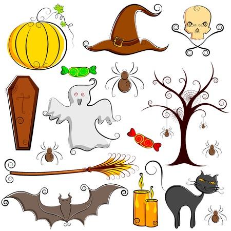 escoba: Ilustración del conjunto de elementos de halloween con calabaza, fantasmas y bat