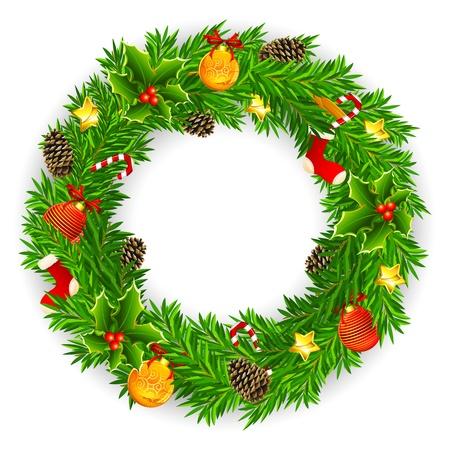 illustrazione di decorazioni ghirlanda di Natale con palla, campana e pigna Vettoriali
