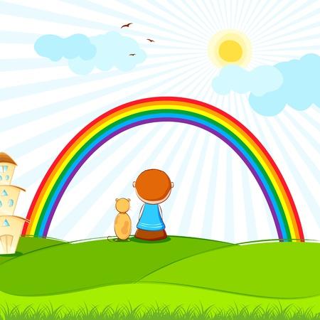 Ilustracja dziecko i pies siedzi w parku oglądania tęczy