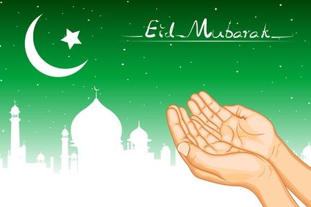 ramzan: Ilustraci�n de un par de manos orando por eid Vectores