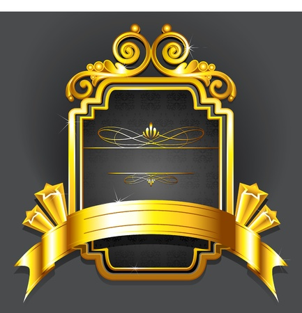 illustration of royal badge with golden frame on black background