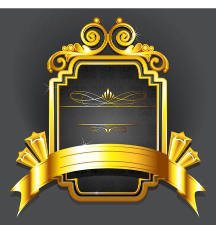 corona real: Ilustración de insignia real con marco de oro sobre fondo negro
