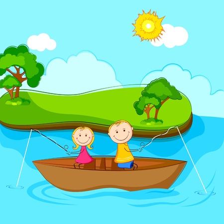 pescador: ilustración de niños sentados en el barco de pesca haciendo