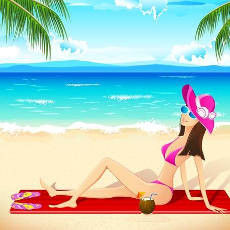 maillot de bain: illustration de la dame de prendre bain de soleil assis sur la plage