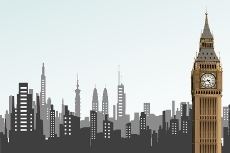illustration opf big ben tower on cityscape backdrop Stock Vector - 10319834