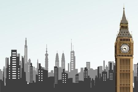 british culture: Ilustraci�n opf big ben torre de tel�n de fondo de paisaje urbano