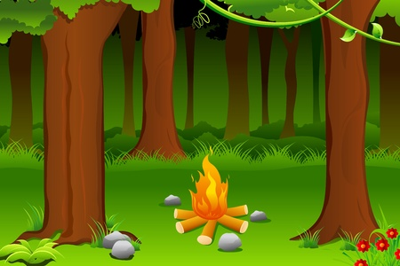 forest fire: illustration of burning bonfire in forest with tree
