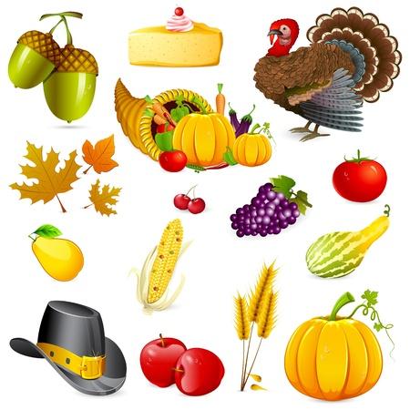 illustration of set of thanksgiving elements on white background illustration