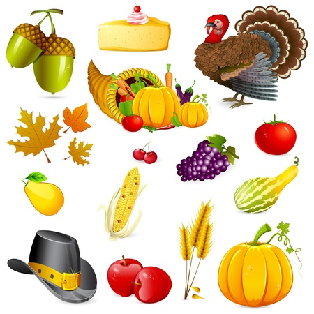 illustration of set of thanksgiving elements on white background Stock Photo