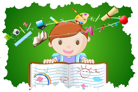 pupil: illustration of kid holding notebook with different education object