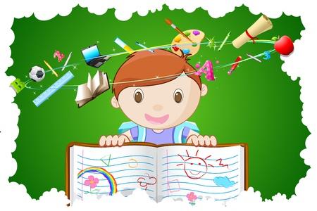 Ilustraci�n del port�til de explotaci�n kid con objeto de educaci�n diferente