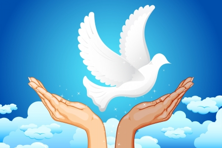 protest signs: illustration of black and white hand flying peace dove in sky