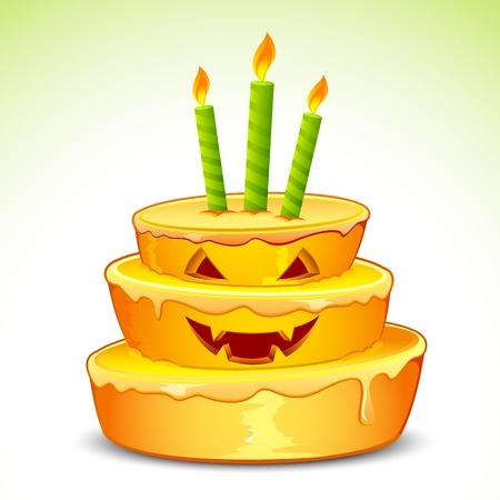 halloween greetings: illustration of pumpkin cake for halloween with candle Illustration