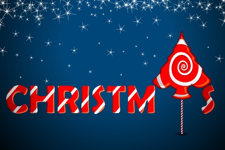 illustration of candy in shape of christmas tree on stary background Vector