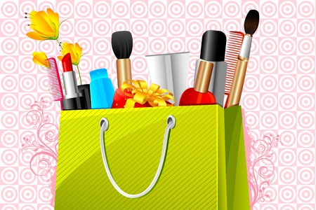 makeup fashion: illustration of shopping bag full of cosmetic on abstract background