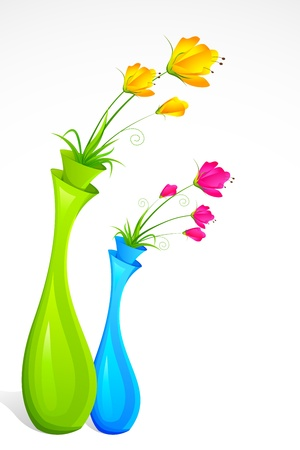 illustration of bunch of fresh flower in flower vase