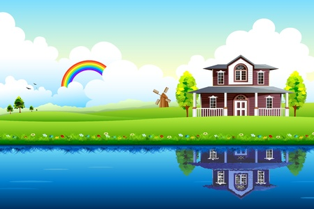illustration of house with beautiful landscape and lake Ilustração