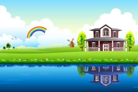 ilustracja domu z piÄ™knym krajobrazem i jeziora