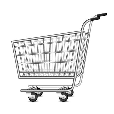 pushcart: illustration of empty shopping cart on white background