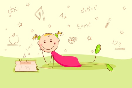 illustration of kid laying on floor and thinking about different education object Vector