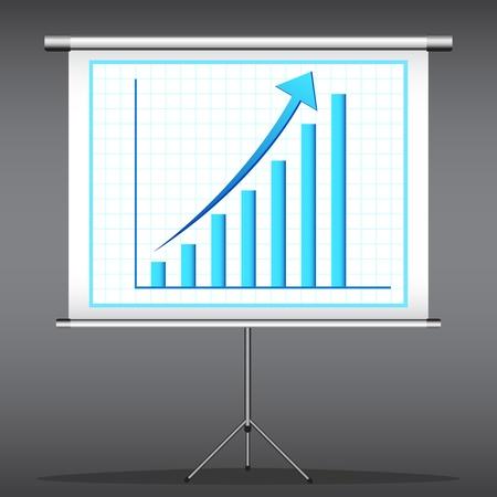 upward graph: illustration of office presentation of bar graph on flex screen