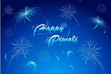 illustration of diwali wish with firework in night sky Vector