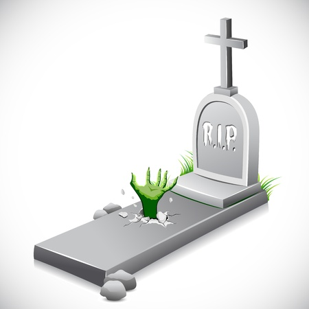 tombstone: illustration of hand coming out of grave stone