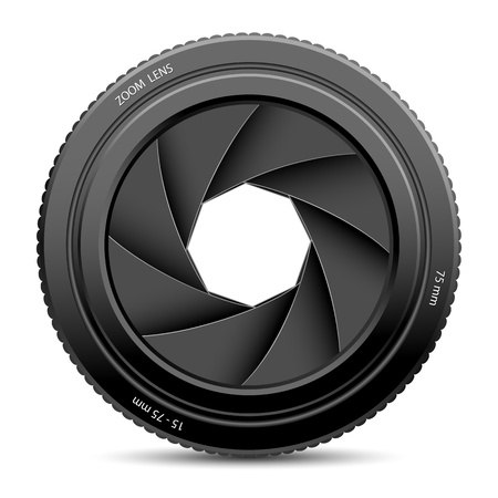serrande: illustrazione di otturatore della fotocamera su sfondo bianco