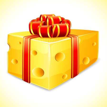 chunk: illustration of cheese wrapped with ribbon on abstract background