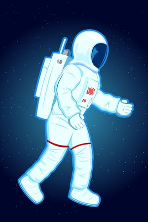 astronaut in space: illustration of astronaut in spacesuit in space Illustration