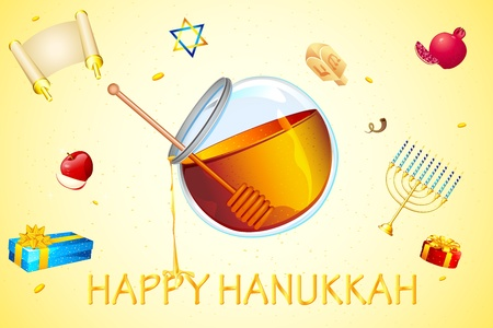 judaica: illustration of card for hanukkah with honey and star of david