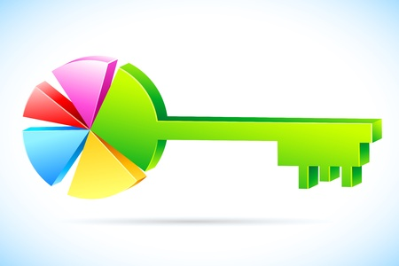 illustration of key in shape of pie chart on abstract background