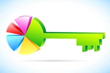 grafico vendite: illustrazione della chiave in forma di grafico a torta su sfondo astratta