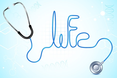 illustration of life text written with wire of stethescope Vector