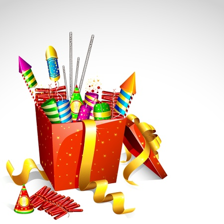 christmas in july: illustration of colorful firecrackerin gift box for holiday fun Stock Photo