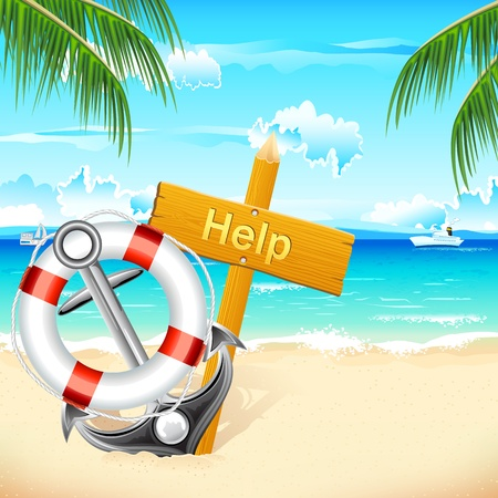raft: illustration of lifebouy and anchor with help board on sea beach