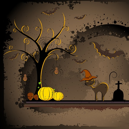 illustration of cat with halloween pumpkin in scary dark night
