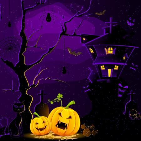 Ilustración de casa embrujada con calabaza de halloween en la oscuridad de la noche de miedo