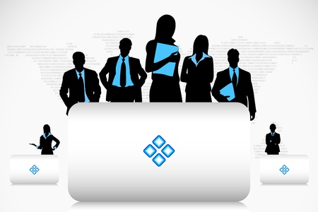 executive board: illustration of business people with placard on earth map background Illustration