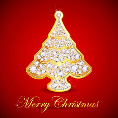 illustration of christmas tree made of gold and diamond Vector