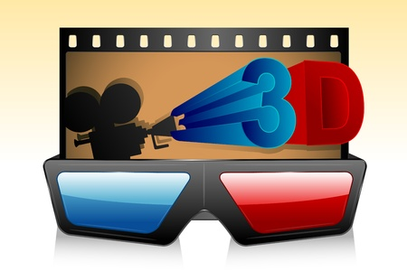 illustration of 3d glasses with film stripe and camera Stock Vector - 10524567