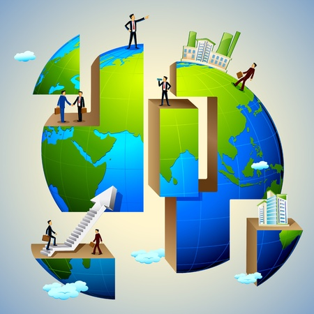 global work company: illustration of business people doing different activities on earth
