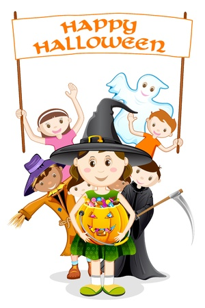 trick or treat: illustration of kids in costume of witch,scarecrow and grim for halloween