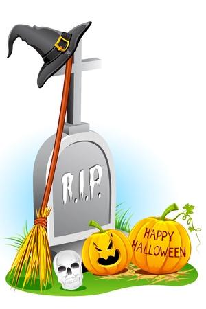 hat trick: illustrazione del cappello di strega con zucca e pietra tomba per halloween