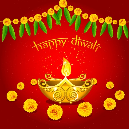 fire crackers: illustration of burningdiwali diya with flower on abstract background