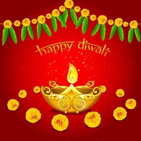 crackers: Ilustraci�n de diya burningdiwali con flores sobre fondo abstracto