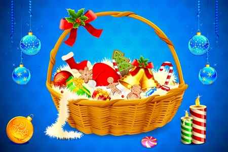 stocking cap: illustration of basket full of christmas cookie and candies