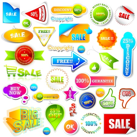 discount coupon: illustration of set of sale element on white background