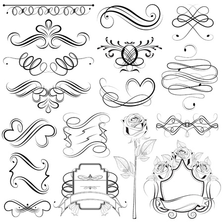 filigree background: illustration of set of vintage design elements Illustration